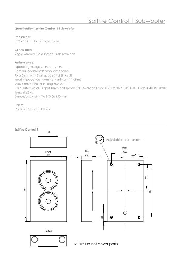 dimensions subwoofer pour salle de cinema privé Artcoustic Spitfire Control 1